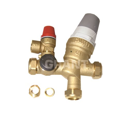 Pressure reducing inlet manifold (22mm) c/w 3 bar PRV and 6 bar expansion relief valve