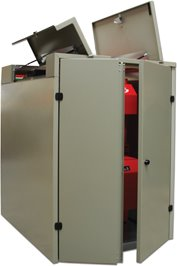 Spirapod wood pellet boiler outdoor housing launches.